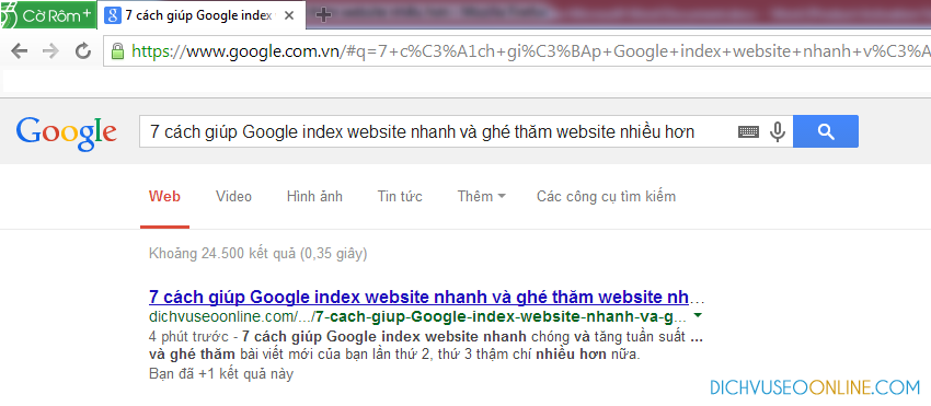 Google index nhanh website